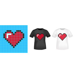 Pixel heart t-shirt print stamp for tee t shirts vector