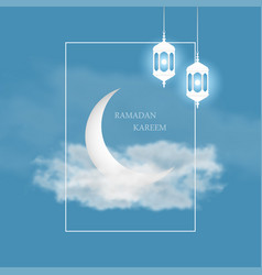ramadan kareem greeting card with islamic vector image