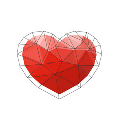 red origami heart on white background vector image