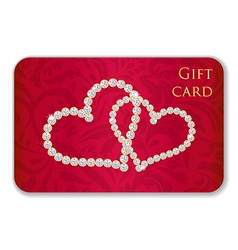 Red Valentine gift card with entwined hearts vector