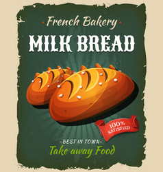 Retro milk bread poster vector