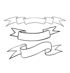 Ribbon banners hand drawn outline sketch vector