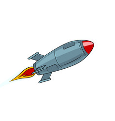 rocket missile flying pop art style vector image