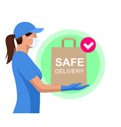 safe food delivery during coronavirus epidemic vector image