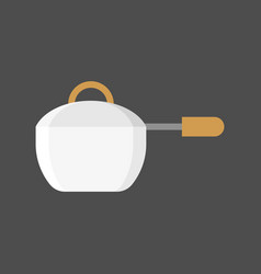 Sauce pan icon with handle flat design vector