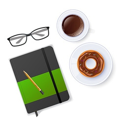 Scene with notebook and coffee vector image