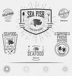 Seafood badges logos and labels for any use vector image