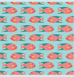 seamless pattern coral reef fish on a blue vector image