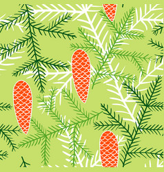 Seamless pattern of fir branches and cones vector