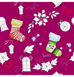 Seamless pattern with Christmas things202 vector image
