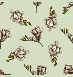 seamless pattern with hand drawn colored freesia vector image