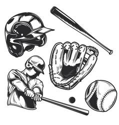 set baseball equipment vector image