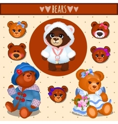 set brown teddy bears father mother and baby vector image