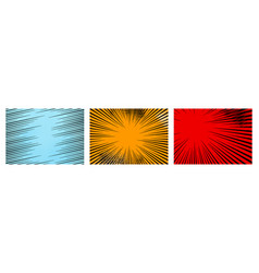 set color radial lines comics style background vector image