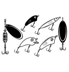 Set fishing bait lure design element vector