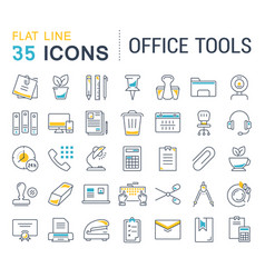 Set flat line icons office tools vector