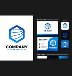set hexagon logo design inspiration vector image