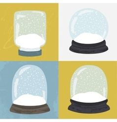 Set of 4 with hand drawn snow globe vector image