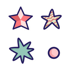 set of black stars on white background vector image