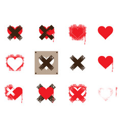 set of icons with hearts and crosses vector image