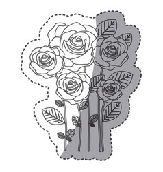Silhouette many roses with oval petals icon vector
