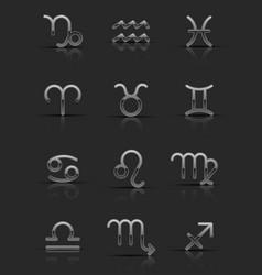 silver zodiac signs vector image