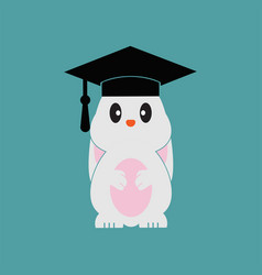 Smart bunny wearing graduation cap template vector