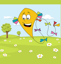 sunny meadow with yellow kite over blue sky vector image