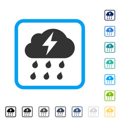 Thunderstorm framed icon vector