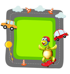 turtle playing skate banner vector image