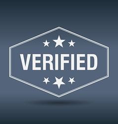 Verified hexagonal white vintage retro style label vector
