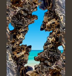 View of the turquoise sea through the rocks vector
