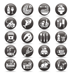 white on black circle button set of flat vector image vector image