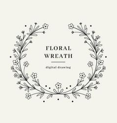 Wildflower laurel wreath hand-drawn wild flower vector