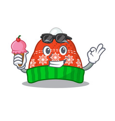 With ice cream winter hat in mascot shape vector
