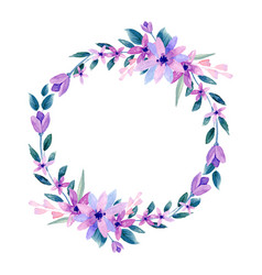 Wreath of flowers in watercolor vector
