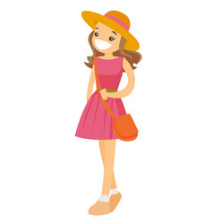 young caucasian white woman in panama hat vector image