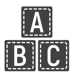Abc blocks solid icon alphabet cubes education vector