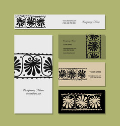 Business cards design ethnic floral ornament vector