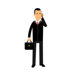 Businessman character in black suit standing with vector