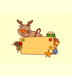 reindeer hold empty banner merry christmas and vector image vector image
