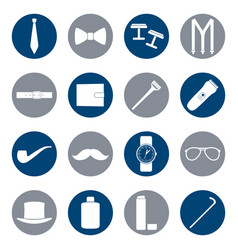 set of white icons of man accessories vector image