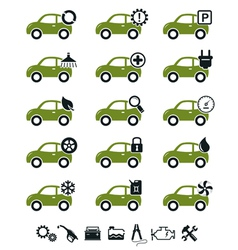 Car mechanic service and repair icons green set vector image vector image