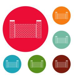 fence of brick icons circle set vector image