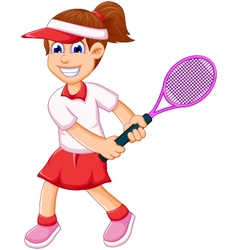 funny girl cartoon playing tennis vector image