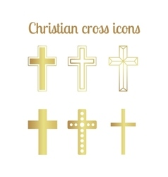 Golden christian cross icons vector image