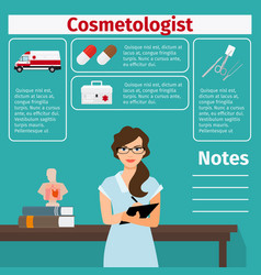 cosmetologist and medical equipment icons vector image vector image