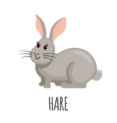 Cute Hare in flat style vector image