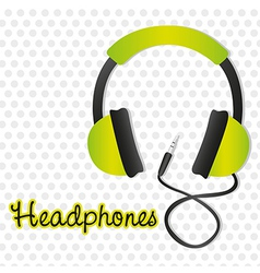 Green headphones with connector over background of vector