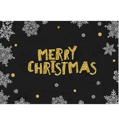 Merry Christmas Golden Greeting On blackboard vector image vector image